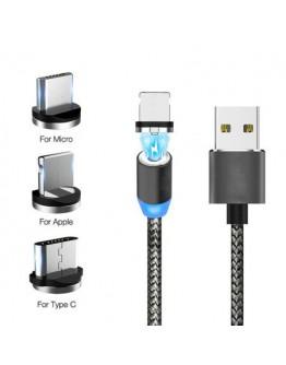 Магнитен USB захранващ кабел 3 в 1 с приставки за Micro USB, 8 Pin за IOS и Type C