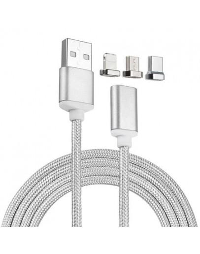 Магнитен USB, синхронизиращ и захранващ кабел 3 в 1 с приставки за Micro USB, 8 Pin за IOS и Type C