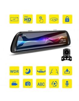 "Видеорегистратор 1080 FHD тип огледало с IR камера за задно виждане DVR Dash Cam 9.66"" Full Touch Screen Display"