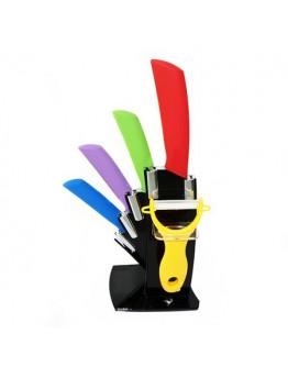 Комплект от 4 керамични ножа с белачка в дизайнерска поставка.