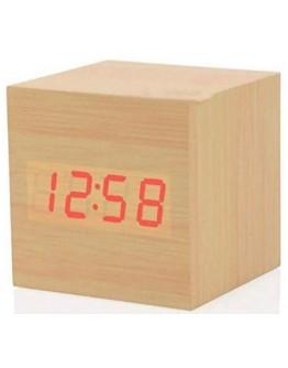 Стилен дигитален часовник под формата на куб имитация на дърво - час, дата, аларма и температура
