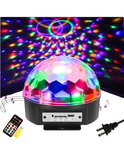 Диско лампа с вградени тонколонки, Bluetooth/USB/TF
