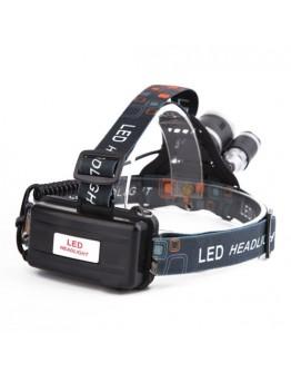 Акумулаторен фенер тип Челник с 3 мощни LED глави
