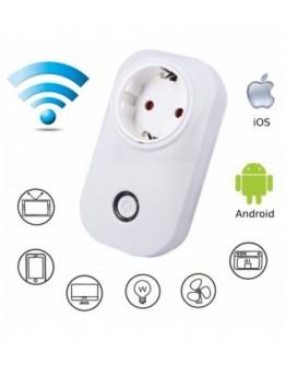 WiFi смарт контакт, шуко, гласов контрол, 220V, 3680W