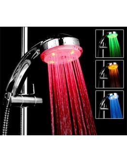 Светеща LED душ-слушалка в три цвята