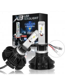 LED X3 Диодни Автомобилни Крушки H1, H7, H4 - 50W, 6000 lm, 3 бр. цветни филтри