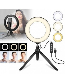 LED ринг лампа за снимки 10 инча с трипод, 3 светлини, стойка за телефон