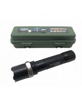 Мощен LED метален фенер с 3 режима и акумулаторна батерия в зелена ПВЦ кутия