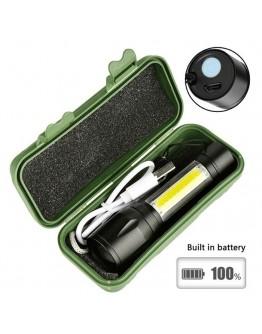 Мощен мини LED фенер с 3 режима и акумулаторна батерия