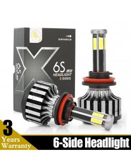 LED S6 Диодни Автомобилни Крушки H1, H7, H4 - 6 страни и 3 бр. цветни филтри