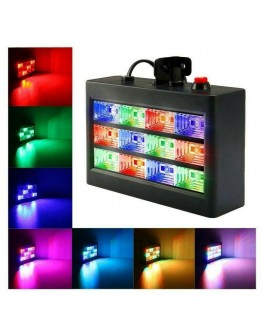 Цветна RGB Блиц LED room Strobe 12, стробоскоп диско лампа