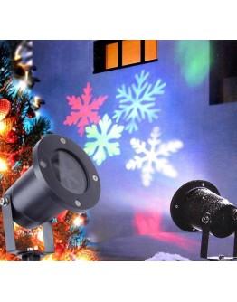 Коледен водоустойчив LED прожектор - въртящи се цветни снежинки.