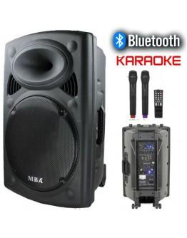 Мощна караоке тонколона MBA F-15 с акумулатор, Bluetooth, FM, МР3 и 2 бр. безжични микрофона.