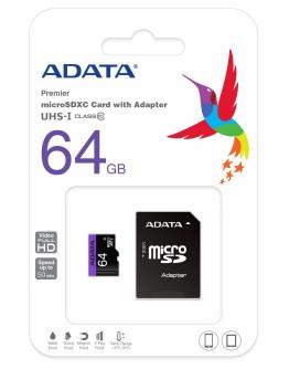 Карта памет 64GB ADATA micro SDXC+SD адаптер, Class 10