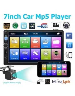 Мултимедия 7010B, 7 инчов тъчскреен дисплей, FM радио, Bluetooth, аудио и видео MP5 плейър и камера за задно виждане