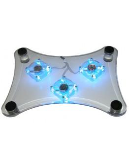 """Охладител за лаптоп """"Blue Led"""" с три вентилатора и сини светлини"""