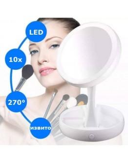 Козметично увеличително огледало с LED осветление