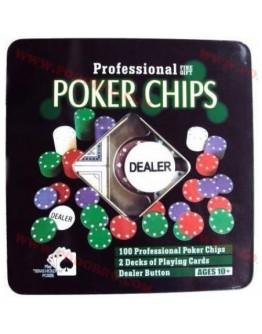 Покер комплект със 100 чипа и 2 тестета карти