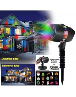 Празничен LED прожектор с 12 цветни слайда за Коледа, Хелуин и др.
