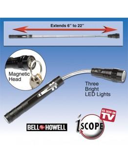 Телескопично LED фенерче с магнитна глава и магнитно закрепване