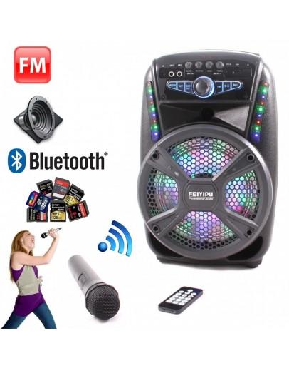 Преносима Bluetooth караоке тонколона FEIYIPU ES-81 с дистанционно, FM радио, MP3 и безжичен микрофон