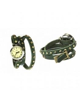 Кожена Ретро Дамска гривна-часовник