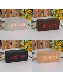 Дигитален часовник с термометър и аларма - имитация на дърво