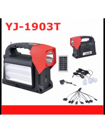 Многофункционална преносима соларна LED осветителна система YJ-1903T с FM радио и MP3