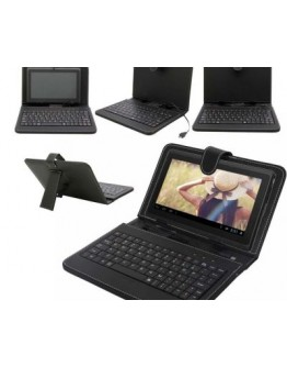 """Универсален калъф за таблет 7"""" с вградена кирилизирана клавиатура с micro USB кабел за връзка."""